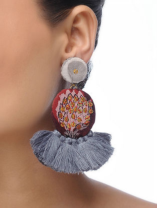 Grey Embroidered Tassel Earrings with Sequins and Threadwork
