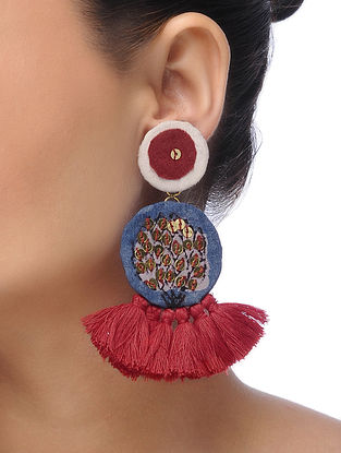 Blue Embroidered Tassel Earrings with Sequins and Threadwork
