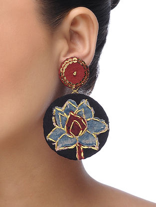 Black Embroidered Earrings with Sequins and Threadwork