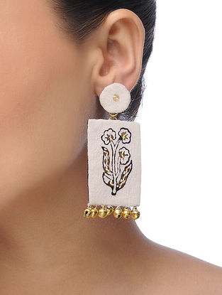 Cream Embroidered Earrings with Sequins and Ghungroo