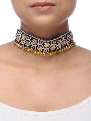 Black-Cream Embroidered Choker Necklace with Sequins and Ghungroo