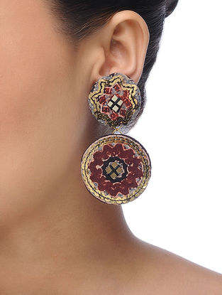 Multicolored Embroidered Earrings with Sequins