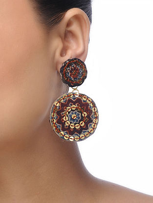 Mustard Embroidered Earrings with Sequins