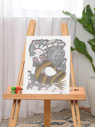 Multicolor Handmade Gond Painting on Paper (15in x 11in)