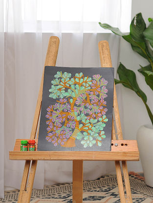 Multicolor Handmade Gond Painting on Paper (14in x 11.1in)