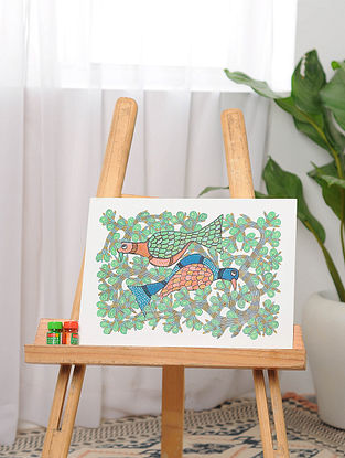 Multicolor Handmade Gond Painting on Paper (11in x 15in)