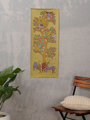 Multicolor Handmade Gond Painting on Canvas (36.5in x 15in)