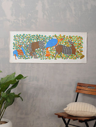 Multicolor Handmade Gond Painting on Canvas (16.5in x 41in)