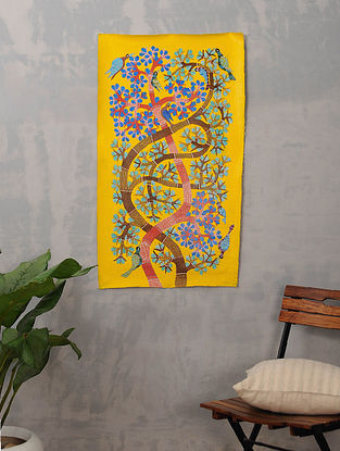 Multicolor Handmade Gond Painting on Canvas (35.5in x 20.5in)