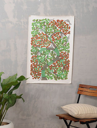 Multicolor Handmade Gond Painting on Canvas (24.5in x 36in)