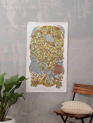 Multicolor Handmade Gond Painting on Canvas (41.5in x 24in)