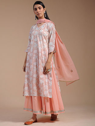 Peach Block-Printed Cotton Kurta with Hand Embroidery