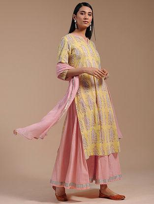 Yellow Block-Printed Cotton Kurta with Zari Lace