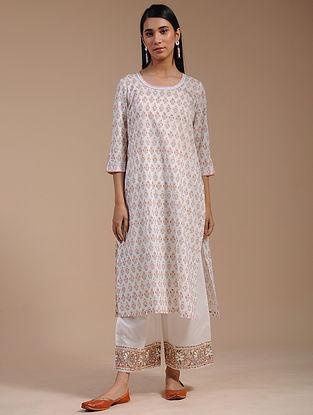 Ivory Block-Printed Cotton Kurta with Zari Lace