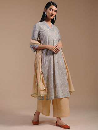 Grey Block-Printed Cotton Kurta with Zari Lace