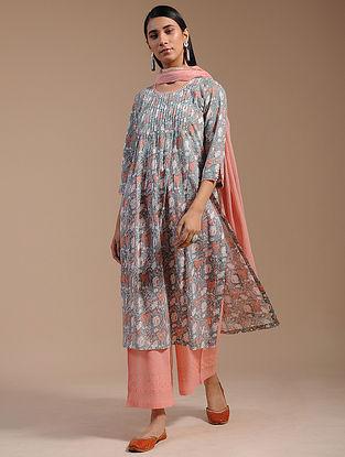 Sea Blue Block-Printed Cotton Kurta with Zari Lace