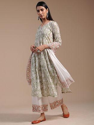 Sage Green Block-Printed Cotton Kurta with Zari Lace