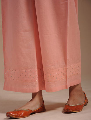 Peach Hand-Embroidered Cotton Pants