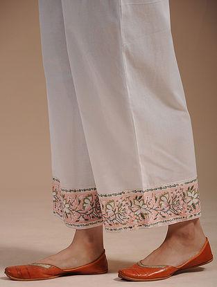Ivory Block-Printed Cotton Pants