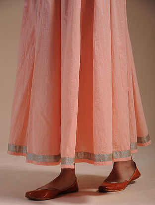 Peach Cotton Skirt with Zari Lace
