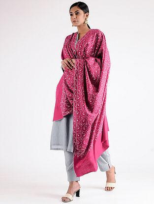 Pink-Ivory Sozni-embroidered Pashmina Shawl