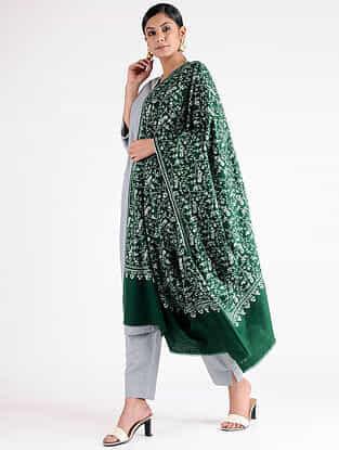 Green-Ivory Sozni-embroidered Pashmina Shawl