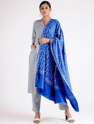 Blue-Ivory Sozni-embroidered Pashmina Shawl