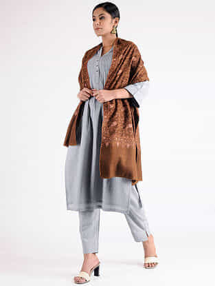 Brown Sozni-embroidered Pashmina Shawl