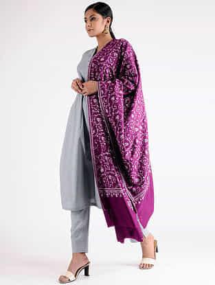 Purple Sozni-embroidered Pashmina Shawl