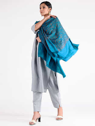 Blue Sozni-embroidered Pashmina Shawl