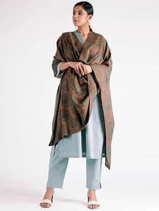 Grey Sozni-embroidered Pashmina Shawl