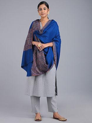Blue Sozni-embroidered Pashmina Paldar Shawl