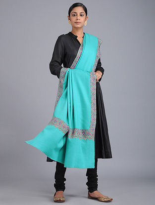 Turquoise Sozni-embroidered Pashmina Shawl