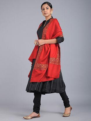 Red Sozni-embroidered Pashmina Shawl