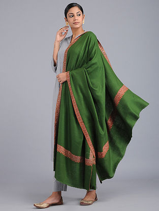 Green Sozni-embroidered Pashmina Shawl
