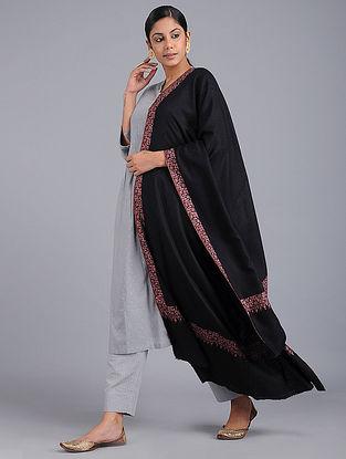 Black Sozni-embroidered Pashmina Shawl