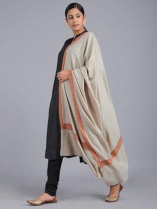 Ivory Sozni-embroidered Pashmina Shawl