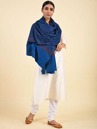 Blue Hand Embroidered Pashmina Jaalidar Shawl
