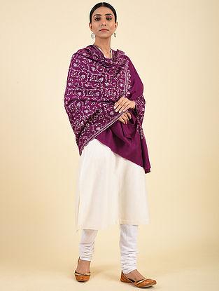 Pink Hand Embroidered Pashmina Jaalidar Shawl