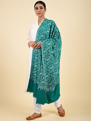 Green Hand Embroidered Pashmina Jaalidar Shawl