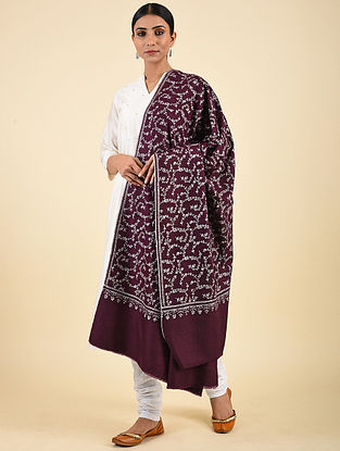 Purple Hand Embroidered Pashmina Jaalidar Shawl