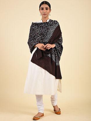 Brown Hand Embroidered Pashmina Jaalidar Shawl