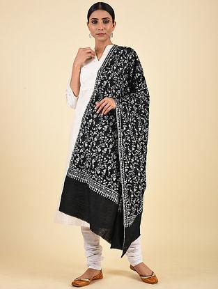 Black-Ivory Hand Embroidered Pashmina Jaalidar Shawl