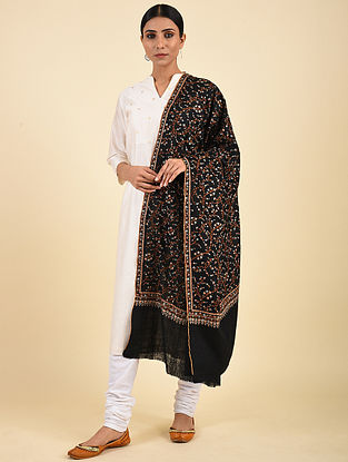 Black Hand Embroidered Pashmina Jaalidar Shawl