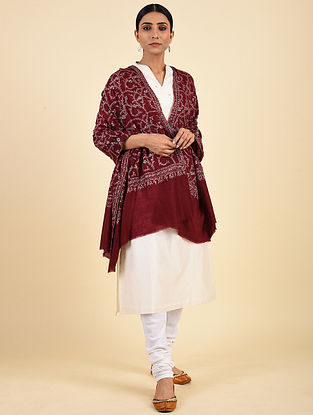 Red Hand Embroidered Pashmina Jaalidar Shawl