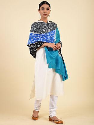 Black-Blue Hand Embroidered Pashmina Jaalidar Shawl