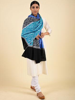 Blue-Black Hand Embroidered Pashmina Jaalidar Shawl