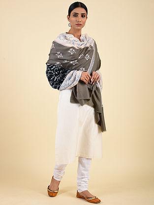 Black-Grey Hand Embroidered Pashmina Jaalidar Shawl