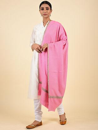 Pink Hand Embroidered Pashmina Hashiadaar Shawl