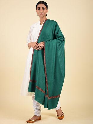 Green Hand Embroidered Pashmina Hashiadaar Shawl